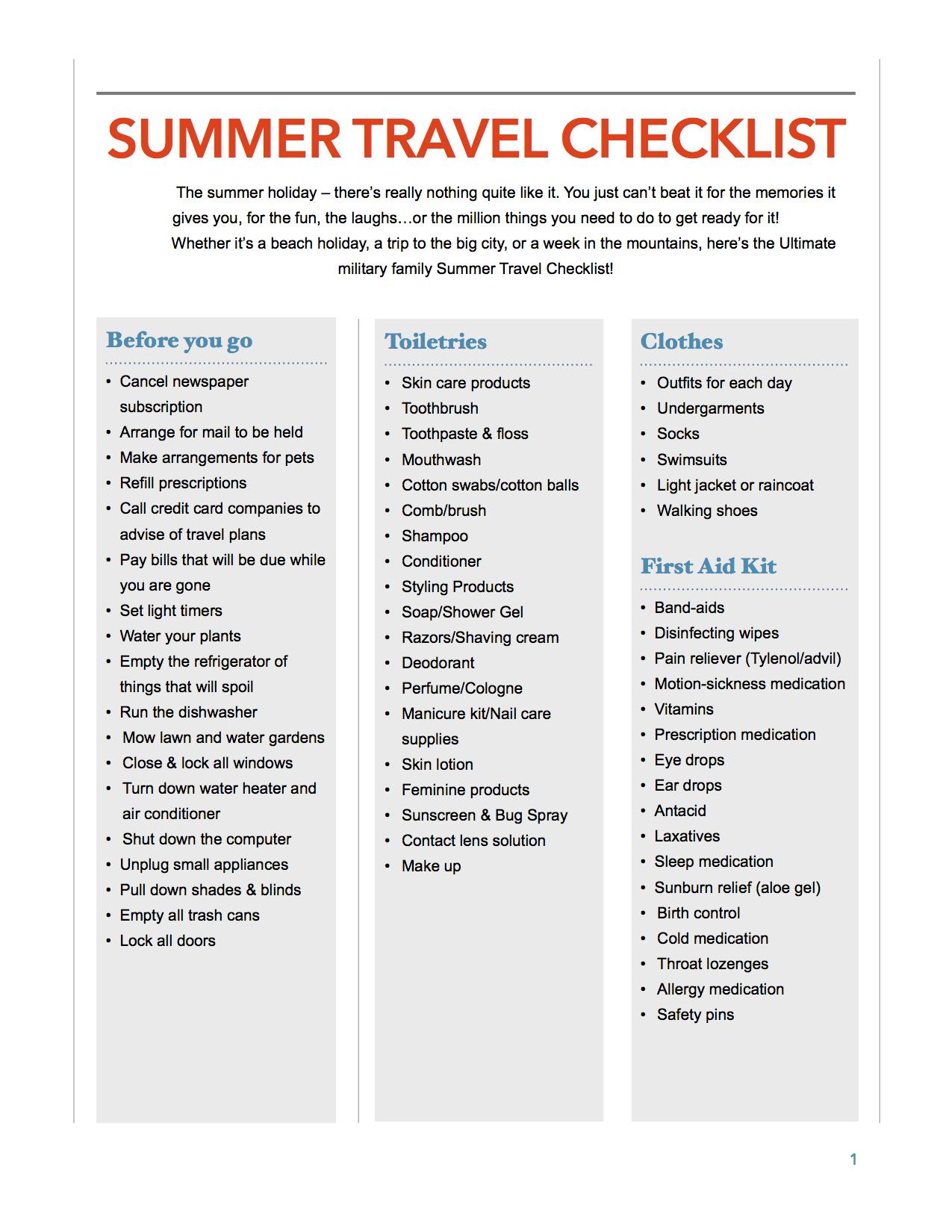summer checklist 1