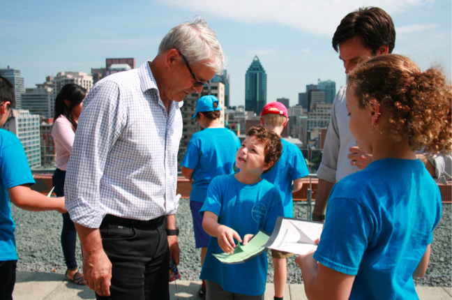 Marc Garneau visiting Space Concordia, organized by Westmount Science Summer Camp in July of 2013