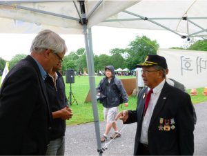 Marc Garneau visiting Korean Veterans at Hampstead Park during Korea's National Day Celebration on August 15 of 2014